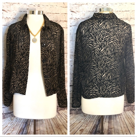 Velvet cutout jacket in tan and black